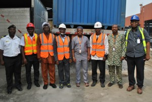NPA inspection team with SIFAX haulage boss, Mr. Saheed Lasisi